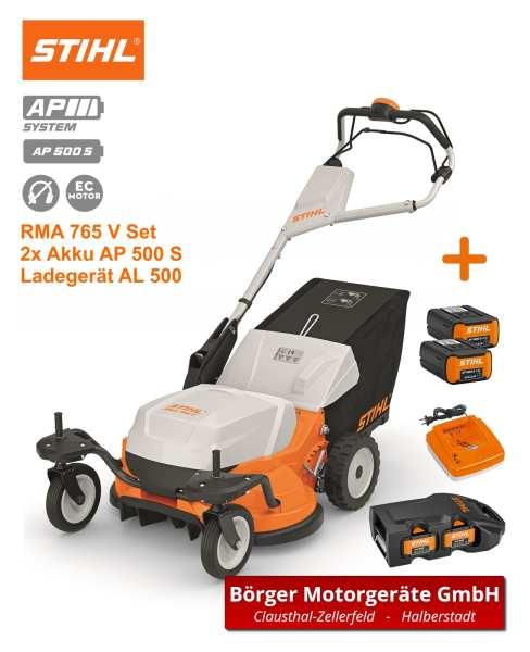 STIHL RMA 765 V Rasenmäher inkl. Ladegerät, Adapter und 2x Akku